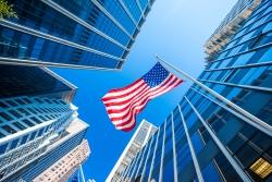 American flag building